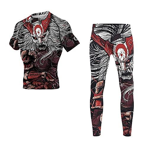 CHOO Men's Mask Samurai Wrestling Training Rash Guard Shorts Spat No Gi Set