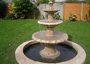 Stone Garden Water Fountain, 5ft 9inch 3 Tier Fountain And 7ft 3inch Sinlge  Pool Surround