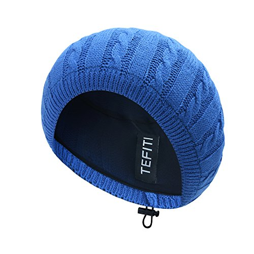 Chenille Beanie Hat - TEFITI Adjustable Chenille Snoods Lightweight Knit Beanie Hat Headcover for Women (Royal Blue)