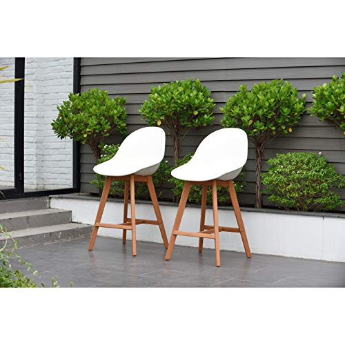 Amazonia Hawaii Patio Bar Sidestool (Set of 2), Dark Eucalyptus Wood -...
