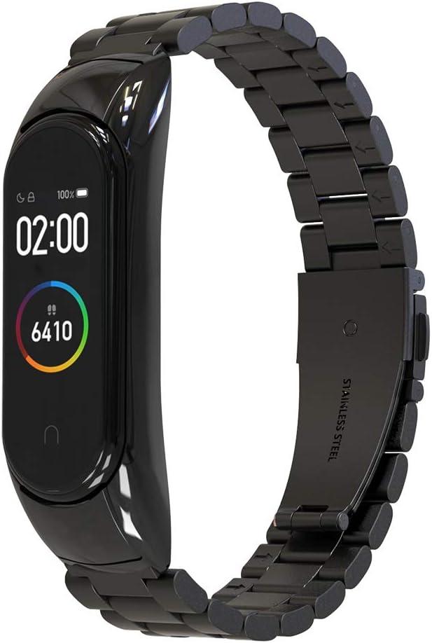 Simpeak Correa Compatible con Xiaomi Mi Band 4 (5.5-8.1 Pulgadas), Pulseras de Acero Inoxidable Wristband Repuesto Bandas Compatible con Xiaomi Mi Band 4 Fitness - Negro