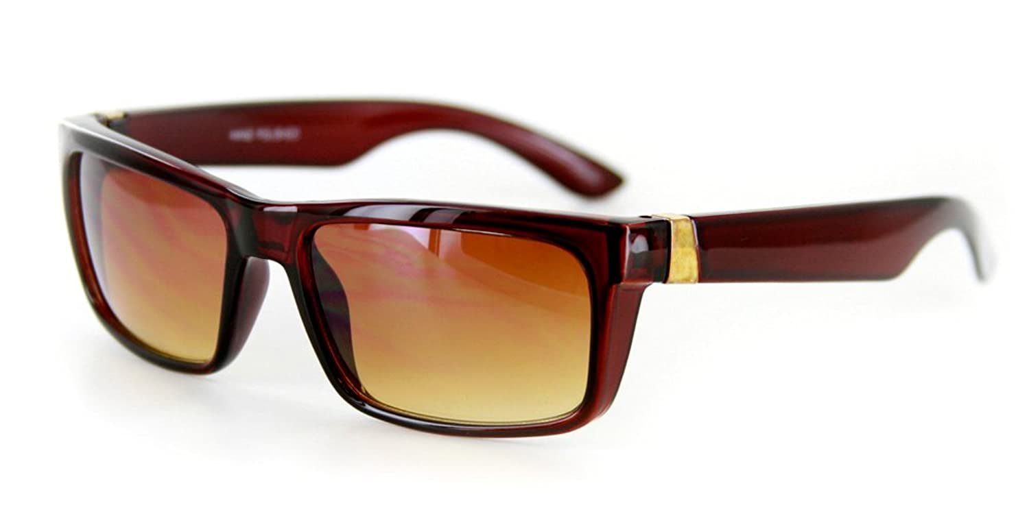 """Highway"" Vintage-Inspired Wrapping Wayfarer Sunglasses (Brown w/ Amber)"