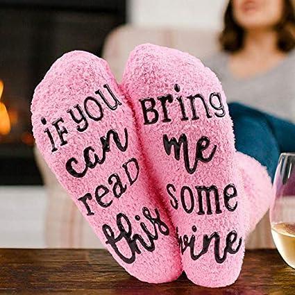 Amici per Amanti Mamma If You Can Read This Bring Me Some Wine Donne Calzini Invernali per Casa con Calda Imbottitura Hootracker Pink Calzini Wine Suola Antiscivolo