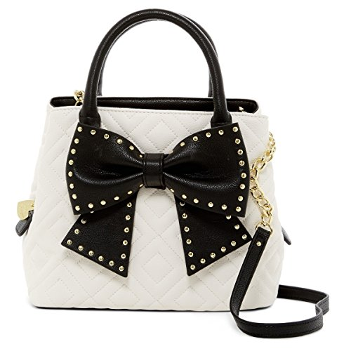 Quilted Bow - Betsey Johnson Hopefully Romantic Bow Bucket Bag - Cream / Black
