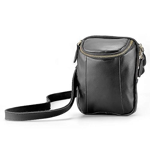 f81200f08 Amazon.com: HaloVa Men's Crossbody Bag, Genuine Leather Messenger Bag, Soft  Multi-purpose Shoulder Bag Side Bag, Waist Mini Daypack, Black: Shoes