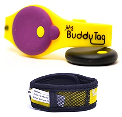 My Buddy Tag with Silicone and Velcro Wristbands (Yellow)