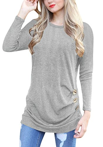dfdd66adb00633 IVVIC Long Sleeve Shirts For Women O-Neck Patchwork Casual Loose Blouse  Button Side Tunic Tops Gray-S - Buy Online in Oman.
