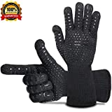 BBQ Gloves Grill Gloves Oven Gloves 932°F Extreme Heat Resistant Gloves EN407 Certified 1 Pair 14'' Long For Extra Forearm Protection BBQ Kitchen Oven Mitts (Black)