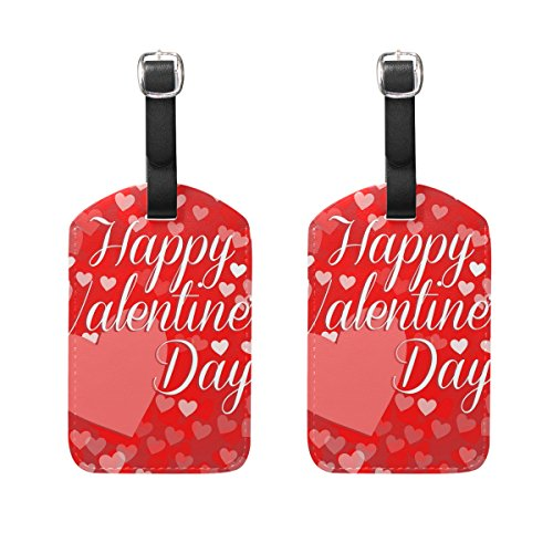 Travel Luggage Tag Happy Valentines Day Big Heart PU Leather Baggage Suitcase Tag Name Address ID Label 2 Pieces (Big Stripes Address Label)