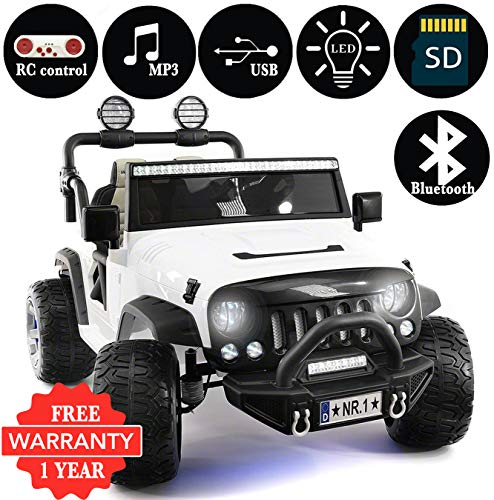 2018 Explorer 2 (Two) Seater 12V Kids Ride-On Car Truck with R/C Parental Remote + EVA Rubber LED Wheels + Leather Seat + MP3 Music Player Bluetooth FM Radio + LED Lights (1 Year Warranty) White