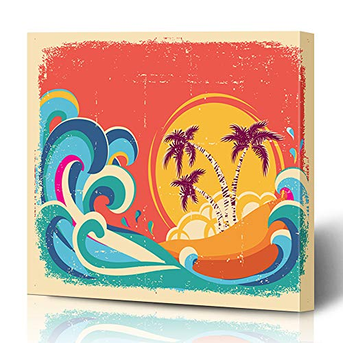 Ahawoso Canvas Prints Wall Art 16x16 Inches Sun Yellow Hawaii Vintage Tropical On Old Nature Summer Hawaiian Brown Retro Beach Splash Abstract Decor for Living Room Office - Beach Vintage Hawaiian Art