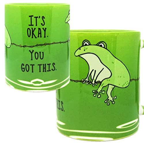 You Got This Frog Funny Mug by Pithitude - One Single 11oz. Green Coffee Cup