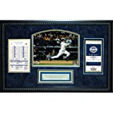Steiner Sports MLB New York Yankees Derek Jeter All Time Yankees Hit Leader Replica Ticket and Line up Card Framed 14x22 Dirt Collage