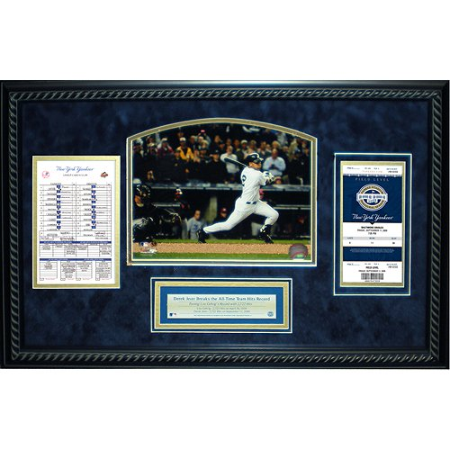 Steiner Sports MLB New York Yankees Derek Jeter All Time Yankees Hit Leader Replica Ticket and Line up Card Framed 14x22 Dirt Collage Yankee Replica Baseball Stadium