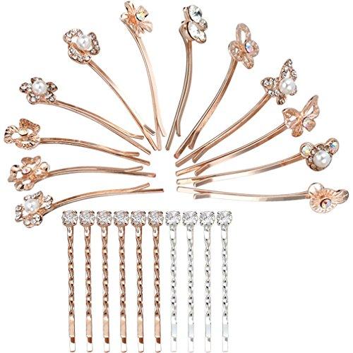 Jaciya Pack of 22 Rhinestone Crystal Hair Barrette Flower Bear Hair Clip Hair Pin by Jaciya