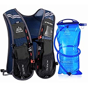 Premium Reflective Vest Hydration Pack has 3L 100oz Storage Pocket Give 1.5L 50oz Bladder as Gift for Hiking Running Biking Clothes Fits Women Men Safety Gear (Black)