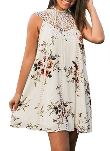 Relipop Women's Sleeveless Casual Lace Summer Floral Print Strap Mini Dress (Small, White)