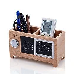 Artinova Wooden Office Desk Organizer Pen and Pencil Holder Stationery Storage Box with Calendar for the Desk ARTA-0006M