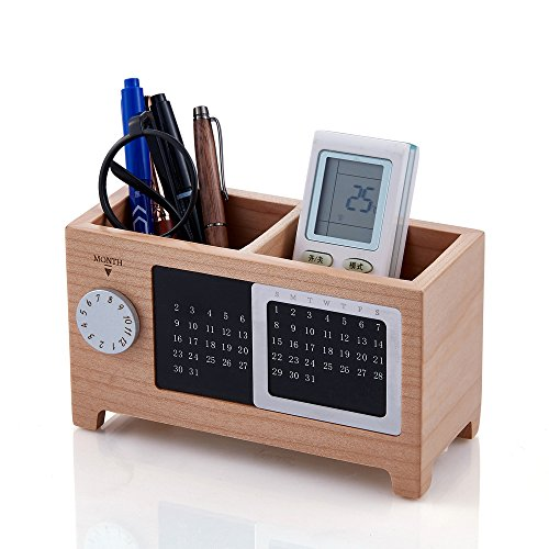 Artinova Wooden Pen Cup Office Desk Organizer Pen and Pencil Holder Stationery Storage Box with Calendar for The Desk ARTA-0006M