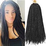 7 Packs 18 Inch Medium Box Braids Crochet Hair Extensions Synthetic Hair Crochet Braids Kanekalon Jumpo Braiding Hair 20 Strands/pack (18 Inch, 1B)