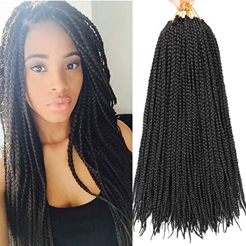 7 Packs 18 Inch Medium Box Braids Crochet Hair Extensions Synthetic Hair Crochet Braids Kanekalon Jumpo Braiding Hair 20 Strands/pack (18 Inch, 1B)