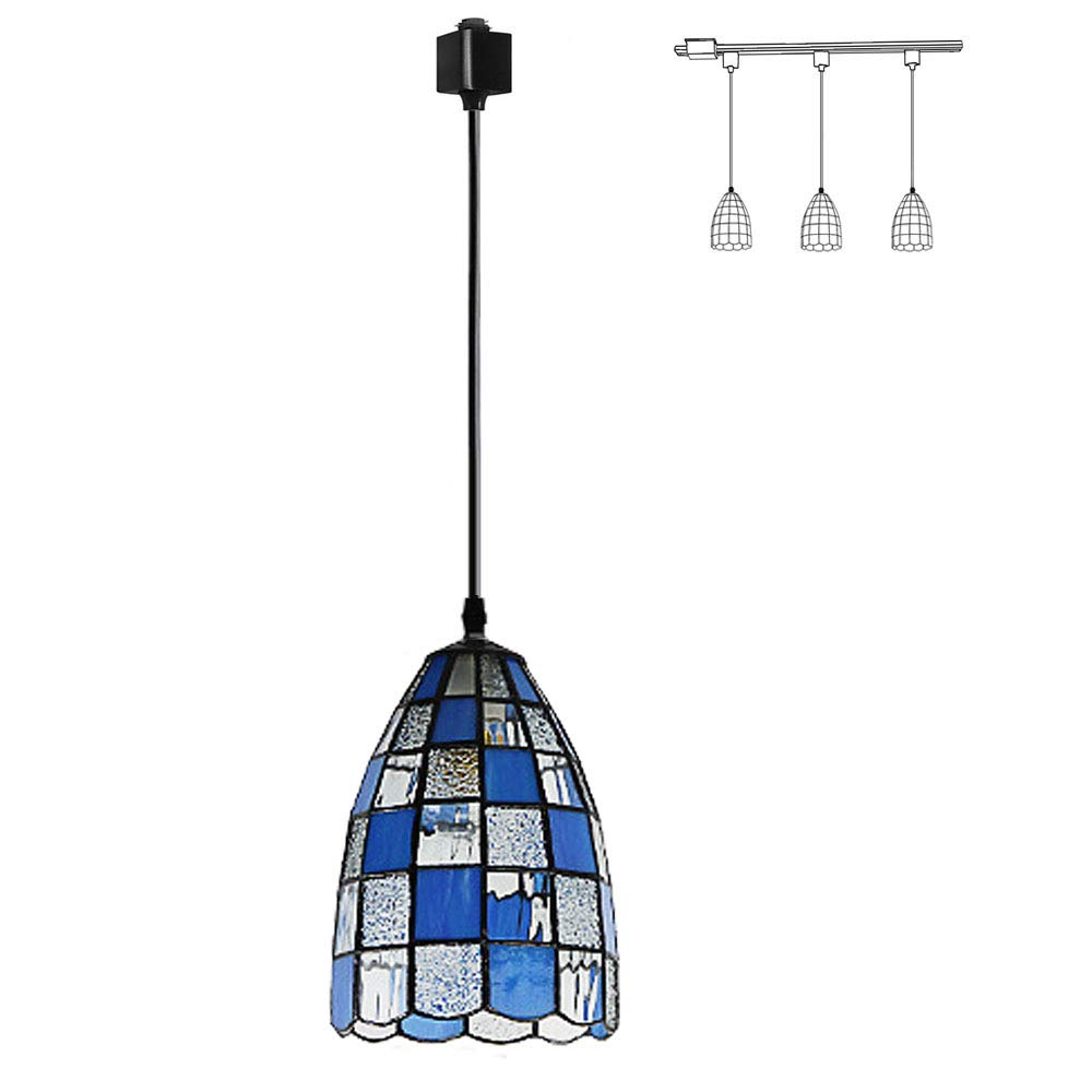 Kiven Light H Type Track Pendant Lighting Tiffany Blue Glass Pendant Lamp,5.9 Inches