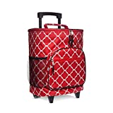 Insulated Rolling Cooler Red Fret with Retractable Handle - Foldable Picnic Bag Cart - Reusable Rectangular Duffle Organizer for Travel Adventure, Boating, Fishing, Sporting Events