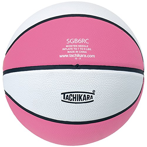 Tachikara Top Grade Rubber Basketball, Size 6, Pink/White