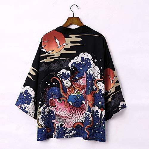 FLY FLU Kimono Cardigan Mens Japanese Fashion Kimono Cardigan Haori Jacket Cotton Polyester Fiber Vintage Cloak Open Front Loose Fit Yukata,Black-USXL//Tag2XL