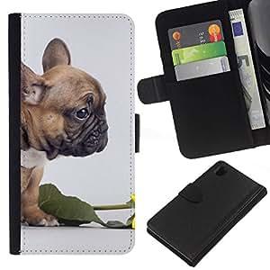All Phone Most Case / Oferta Especial Cáscara Funda de cuero Monedero Cubierta de proteccion Caso / Wallet Case for Sony Xperia Z1 L39 // Pug Valentines Flower Rose Puppy Small