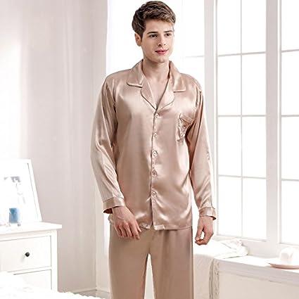 Syksdy Par De Pijamas Pijama De Seda Sexy Moda Juegos De Café Oro Mujer Three-