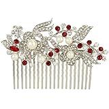 EVER FAITH Austrian Crystal Cream Simulated Pearl Flower Leaf Vine Hair Comb Red Silver-Tone