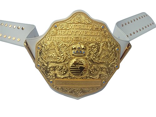 Fandu Belts Adult Big Gold Metal Full Gold Championship Belt Title 8mm Thick White Strap by Fandu Belts