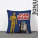17.3 X 17.3 inches Blue Star Wars Decorative Pillowcase, Yellow R2D2 Throw Pillow Cover R2D2 Droid Science Fiction Themed Cushion Cover Adventured Movie Square Soft Gift Children, Polyester