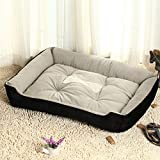 BigBig Home Short Plush Super Soft Washable Pets Bed,Filled with PP Cotton and Button Waterproof.Black/Coffee Available(XS,S,M,L,XL,XXL)
