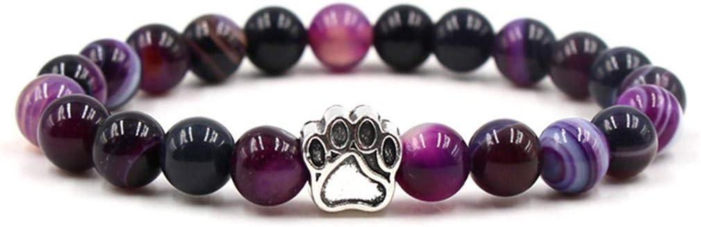 Pinhan - Pulsera de cuentas redondas coloridas para cachorros con piedras preciosas sintéticas 21 cm morado