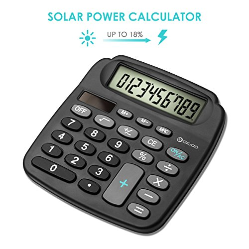 DIGOO DG-MC1 Electronic Desktop Calculator, Scientific Standard Function Calculator, Solar Power Energy Mini Calculator, With High Definition LCD Screen Display, 11 Digits for Business & Office Definition Lcd