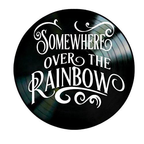 Somewhere Over the Rainbow song lyrics from The Wizard of Oz on a Vinyl Record Album Wall Art by VinylRevamped