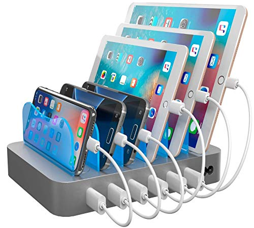 Hercules Tuff Charging Station for Multiple Devices - 16 Short Cables Included - lPhone Cables, Samsung, and Type C
