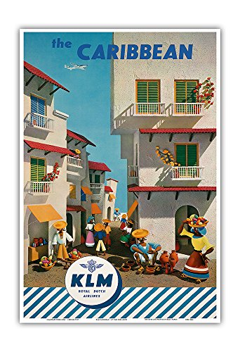 Pacifica Island Art The Caribbean   Royal Dutch Airlines Klm   Vintage Airline Travel Poster By J  F  Van Der Leeuw C 1960S   Master Art Print   13In X 19In