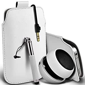 Wiko Ozzy Dual-Sim premium protección PU ficha de extracción de deslizamiento del cable En caso de la cubierta de la piel de la bolsa de bolsillo, Retractable Stylus Pen & Mini recargable portátil de 3,5 mm Cápsula Viajes Bass Speaker Jack White por Spyrox