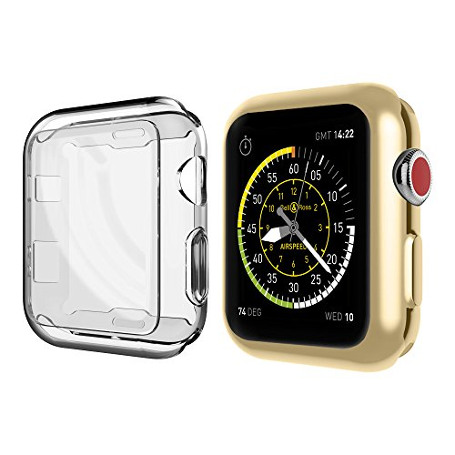 UMTELE Compatible with Apple Watch Case 38mm, Plated TPU Case Integrated Screen Protector Anti-Scratches Slim Lightweight Protective Cover for Apple Watch Series 3/2/1, 2 Pack