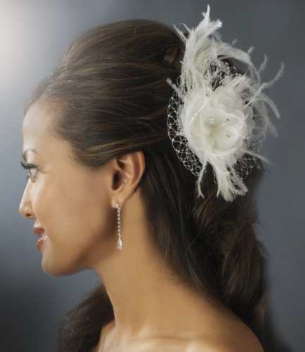 IVORY Floral Feather Fascinator with Russian Veiling Accent by outlet