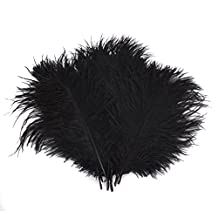 Ewandastore 50pcs Natural 5-8inch(15-20cm) Home Decor Ostrich Feathers Plume Party Wedding Decorations with a Card Sleeve (Black)