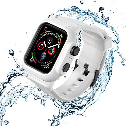 VANCHAN Compatible with Waterproof Apple Watch Case 44mm Series 5 & Series 4, IP68 Waterproof Protective Cover with Band for Iwatch Series 4/5 44mm (White)