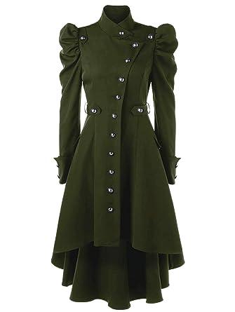 BoBoLily Manteau Femme Printemps Hiver Vintage Punk Gothique Noble  Outerwear Fashion Spécial Style Asymmetric Classic Loisir fd7ff90957a