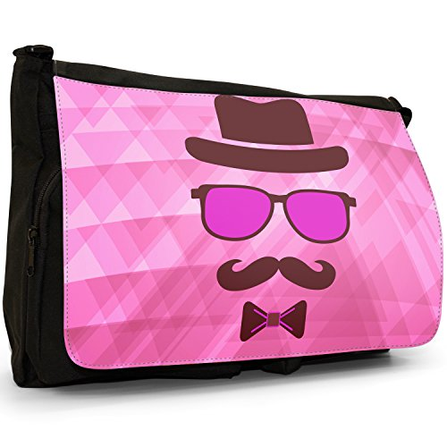 Face Hipster Guy Invisible Messenger Bag Pink Laptop Black Large Canvas Shoulder Moustache School dqprUqxO
