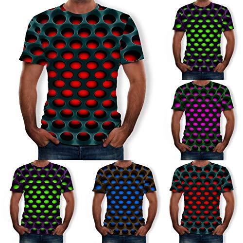 Forthery Men 3D Printed Casual Summer Short Sleeve Slim Fit T-Shirt Tees