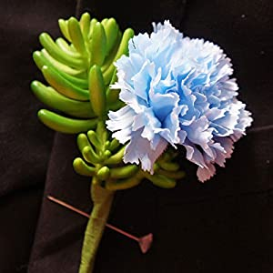 Lily Garden Artificial Flowers Boutonniere Corsage (Blue) 102