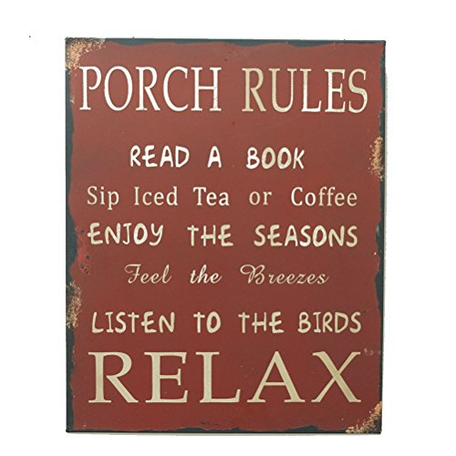 Metal Antique Porch Rules Vintage Style Porch Rules Wall Decor ()
